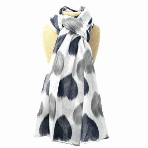 Lua Designs Faded Heart Print Beautiful Soft Scarf in White